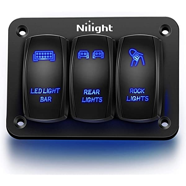 Amazon.com: Nilight 3 Gang Aluminum Rocker Switch Panel 5 Pin ON/Off Pre- Wired Toggle Switch Panel With Rocker Switch Holder 12/24V for Marine Boat  Car ATV UTV,2 Years Warranty: AutomotiveAmazon.com