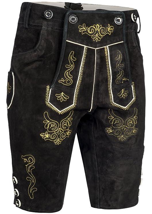 Herren Trachten Lederhose kurz | Inklusive Träger | in Verschiedenen Farben | schwarz, braun, gespeckt | 100% Leder |