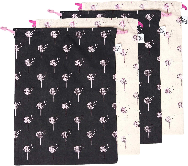 EcoRight Cotton Drawstring Bag, Shoe Storage Pouch, Travel Organizer - Pack of 4