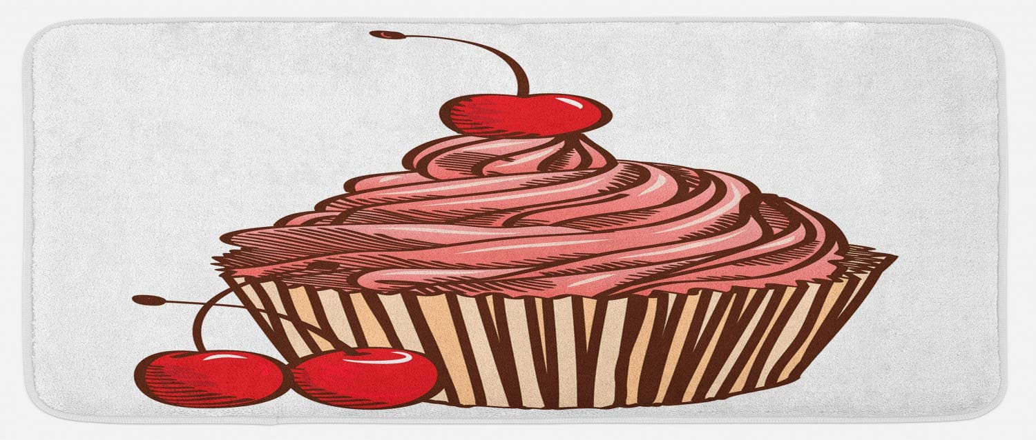 Ambesonne Cupcake Kitchen Mat, Delicious Cake Icing and Cherry Flavour Homemade Dessert Nutrition, Plush Decorative Kitchen Mat with Non Slip Backing, 47