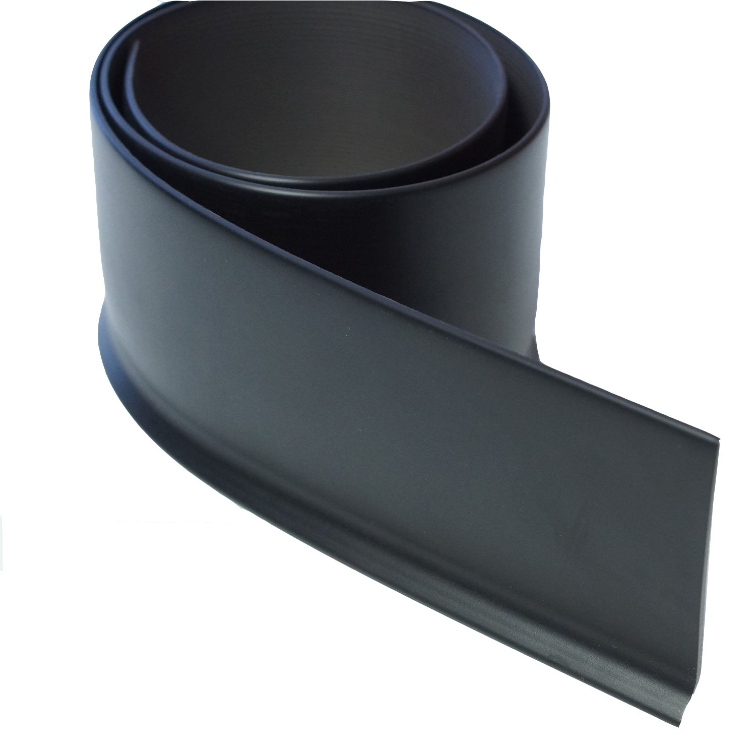 1/8'' Vinyl Cove Base with Toe for Home, Office, and Garage - 40 ft Pack - Black #701