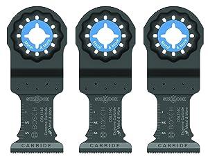 "Bosch Starlock Carbide Plunge Cut Oscillating Multi-Tool Blade Set, 1-1/4"" OSL114C-3"