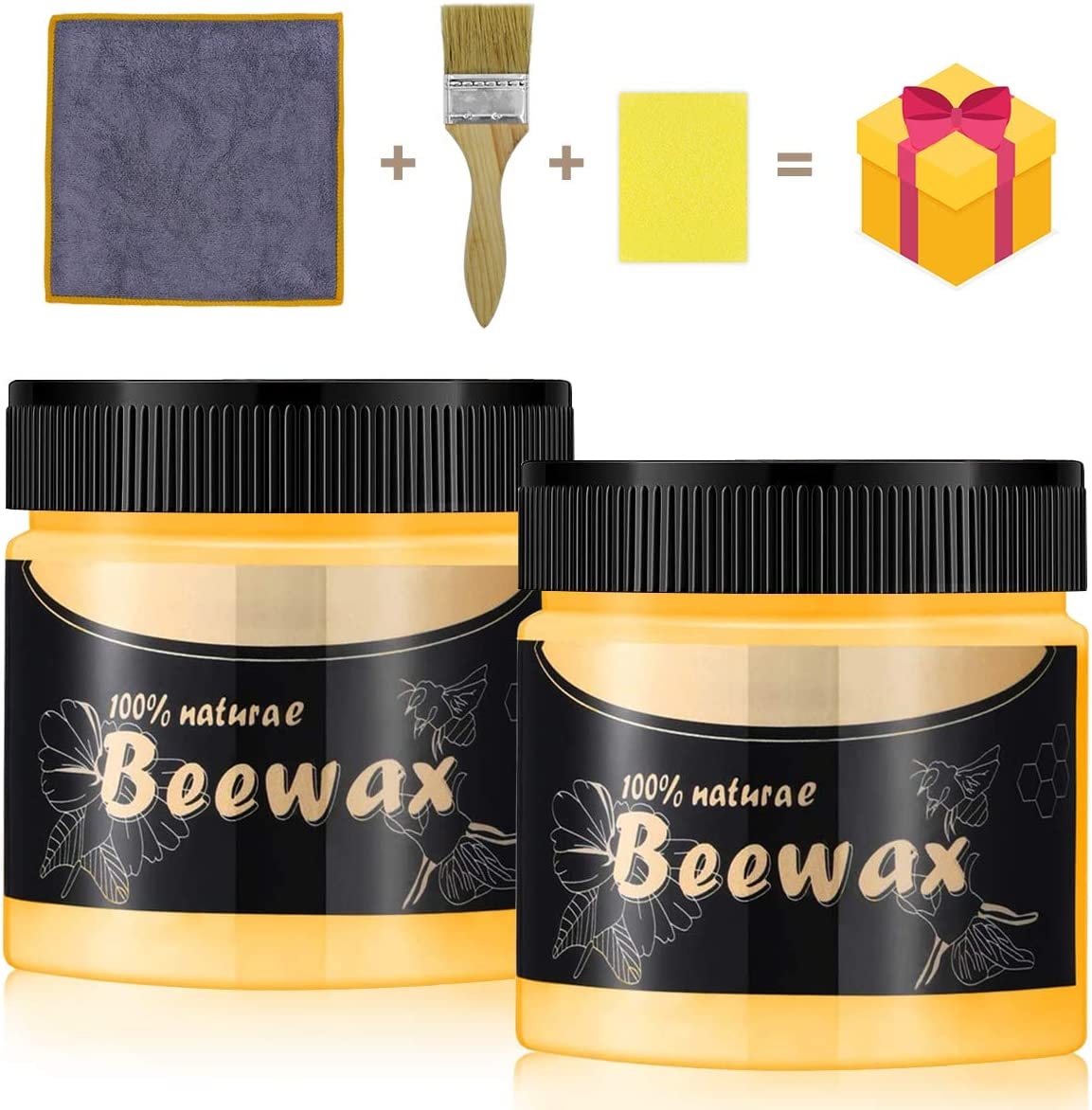 Wood Seasoning Beewax, 2 Pcs Natural Traditional Beeswax Furniture Polish with Brush, Waxed Cloth and Large Sponge for Wood, Furniture, Floor, Tables, Chairs, Cabinets