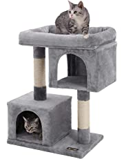 FEANDREA Cat Tree Furniture for Large Cats, 2 Cozy Plush Condos and Sisal Posts, Light Gray UPCT61W