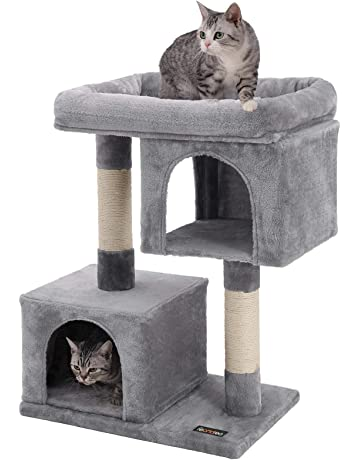 af3017f025ea FEANDREA Cat Tree for Large Cats, 2 Cozy Plush Condos and Sisal Posts