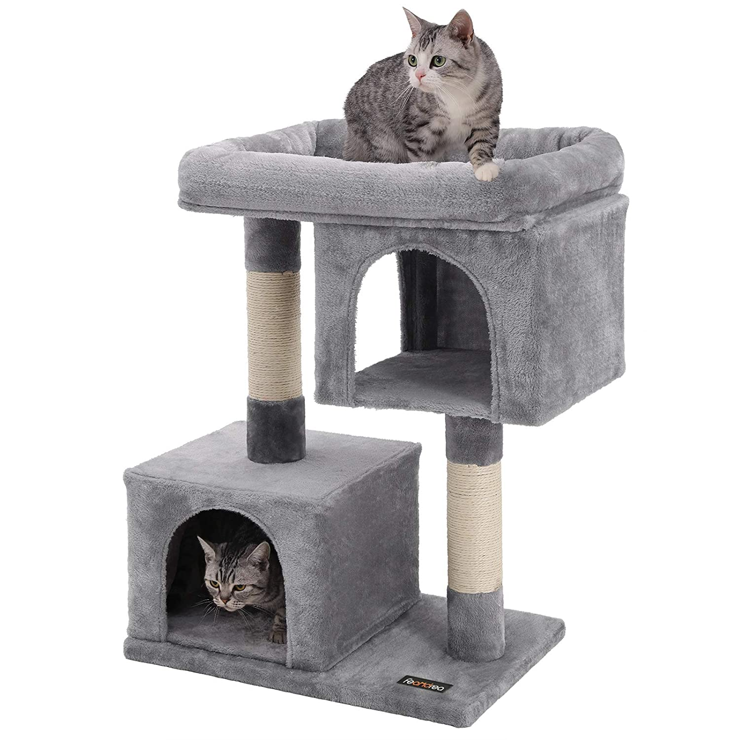 4dc7ab8efb38 FEANDREA Cat Tree for Large Cats, 2 Cozy Plush Condos and Sisal Posts