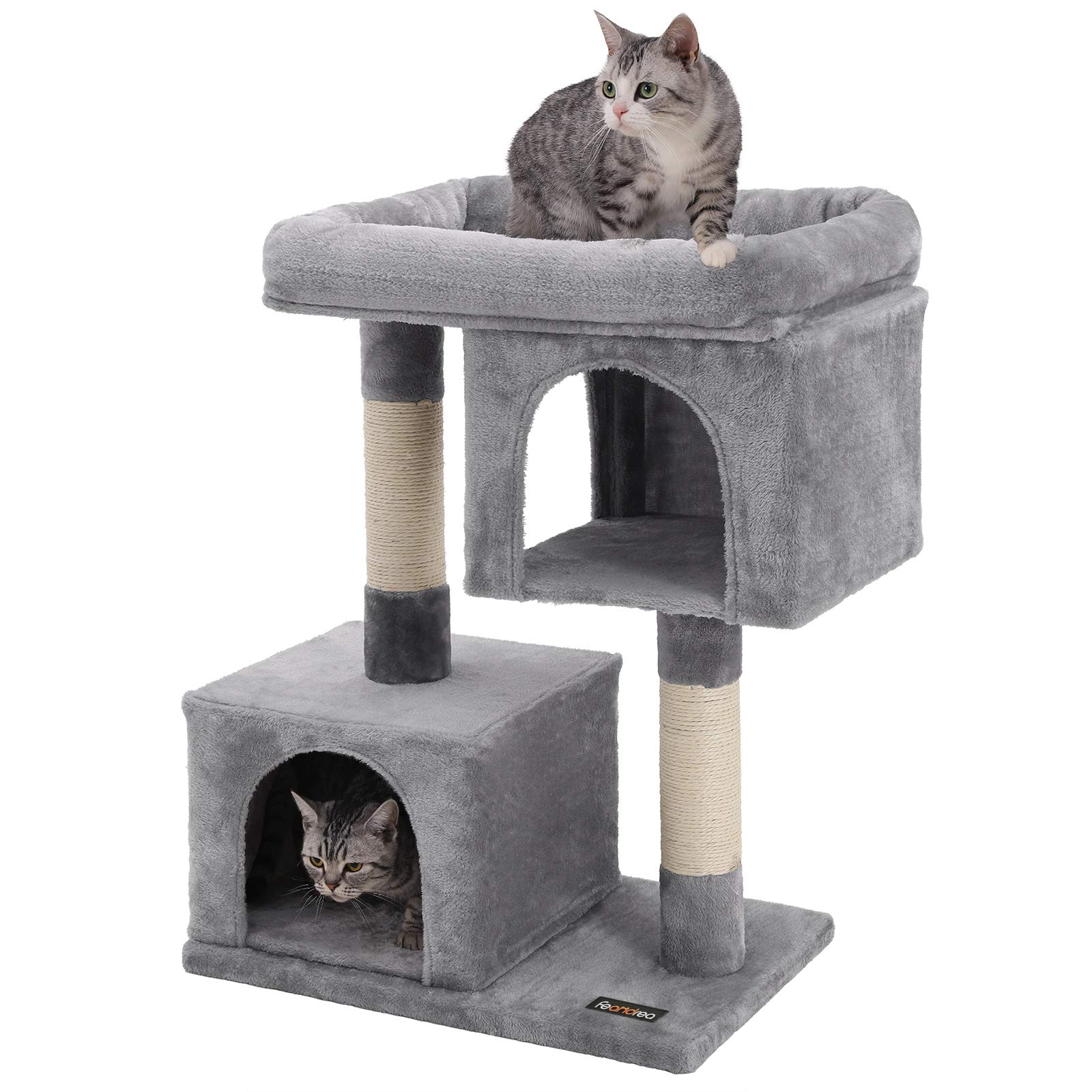 FEANDREA Cat Tree for Large Cats, 2 Cozy Plush Condos and Sisal Posts UPCT61W by FEANDREA
