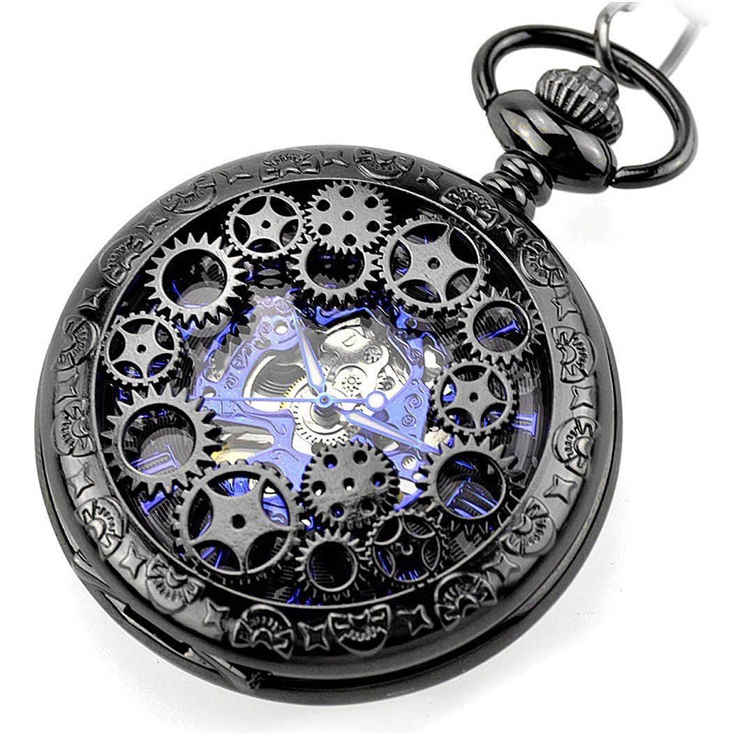 | Vintage Steampunk Black Gears Copper Case Skeleton Mechanical Pocket Watch with Chain Gift Box