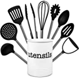 Country Kitchen 10 Piece Nylon Cooking Utensil Set with Holder, Kitchen Tools and Gadgets with Rounded Gunmetal Handles - Bla