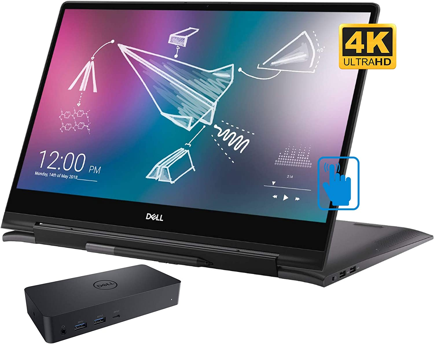"""Dell Inspiron 15 7591 Home and Business Laptop-2-in-1 (Intel i7-10510U 4-Core, 16GB RAM, 1TB PCIe SSD, NVIDIA MX250, 15.6"""" Touch 4K UHD (3840x2160), Active Pen, Win 10 Home) with D6000 Dock"""