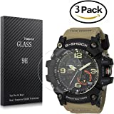 Youniker 3 Pack Casio GG-1000 Screen Protector Tempered Glass,for Casio Men's G Shock GG1000 Watch Screen Protector Foils Glass 9H Hardness 0.3MM Slim, Anti-Scratch, Anti-Fingerprint, Bubble Free