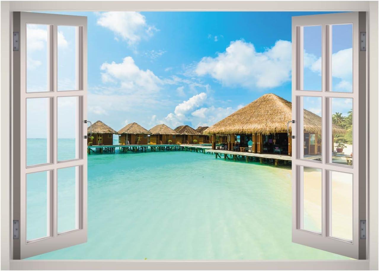 Maldives Island Beach Resort View Window 3D Wall Decal Art Removable Wallpaper Mural Sticker Vinyl Home Decor West Mountain W134 (GIANT (65''W x 46''H))