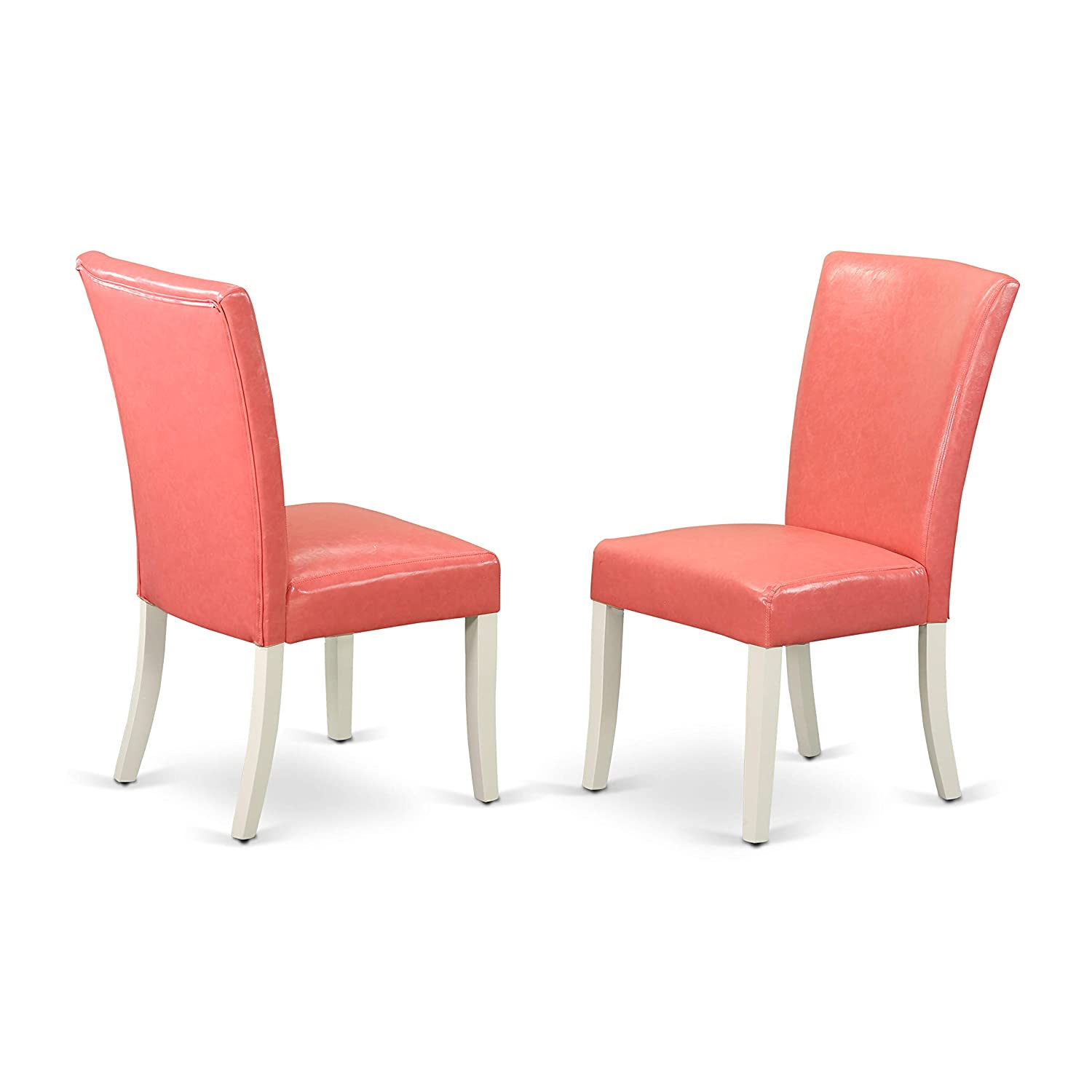 East West Furniture ALP2B78 Alpine Parson Chair with Linen White Finish Leg and PU Leather Color Pink Flamingo (Set of Two)