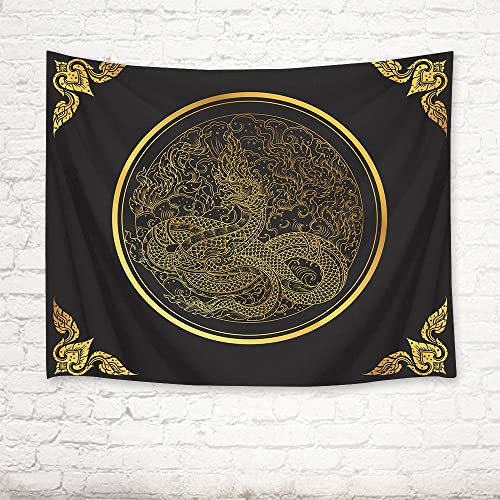 LB Dragon Tapestry Golden Dragon in Circle Wall Hanging Animal of Chinese Legend Tapestries for Kids Bedroom Living Room Party Dorm,92.5Wx70.9H inches