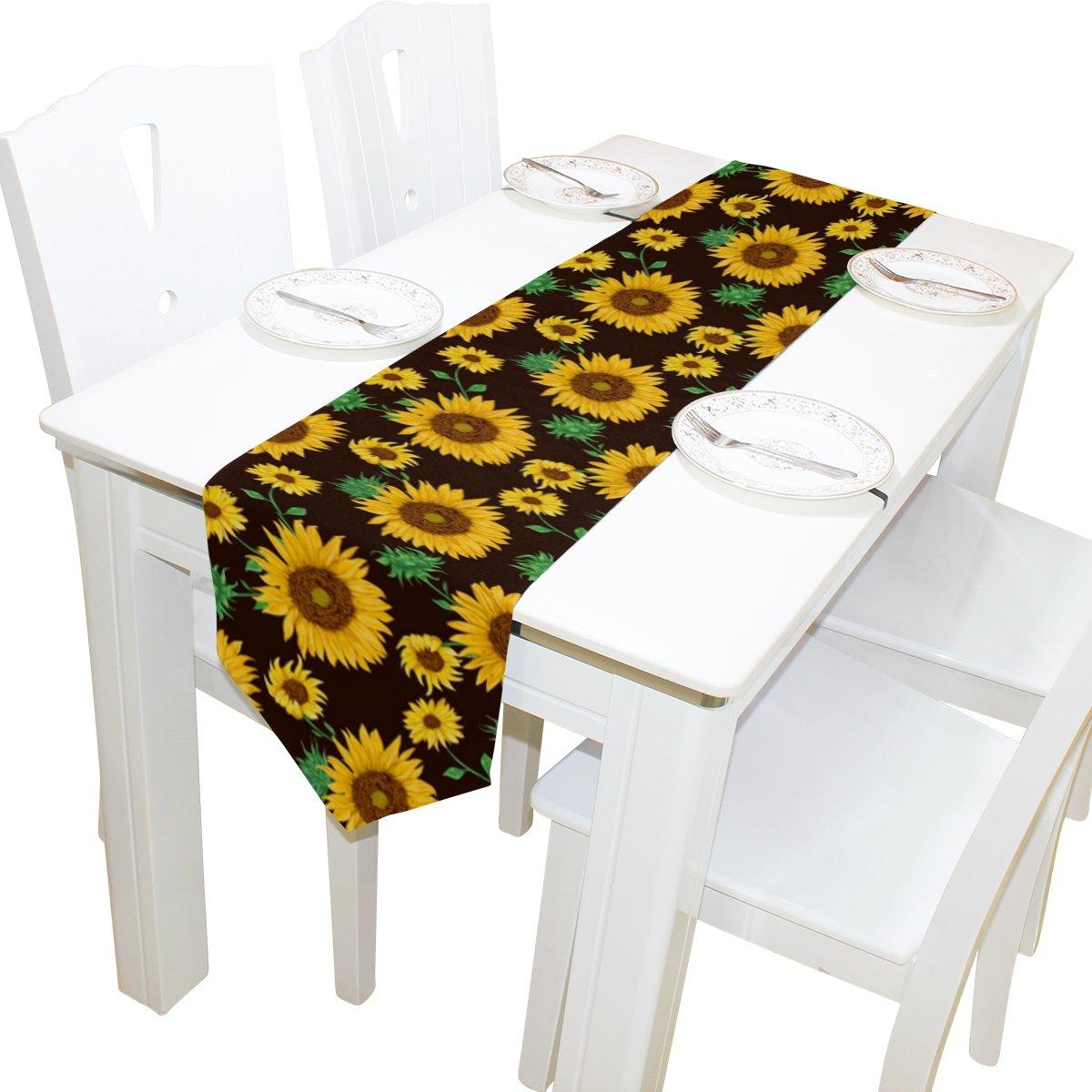 yochoiceテーブルランナーホーム装飾、ヴィンテージイエローひまわりテーブルクロスランナーコーヒーマットforウェディングパーティー宴会装飾13 x 70インチ 13x70 ホワイト 13x70  B074WPXV4H