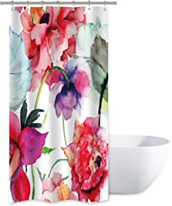Watercolor Floral Shower Curtain Colorful Flower Peony Red White Decor Fabric Panel Bathroom Set 36