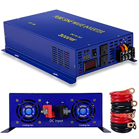 XYZ INVT 3000W Pure Sine Wave Power Inverter 12V DC to 120V AC with 2 AC Outlets 2 Set of Battery Cables, Power Converter Generator for Home Grid Off, Solar System, RV. 3000W12V