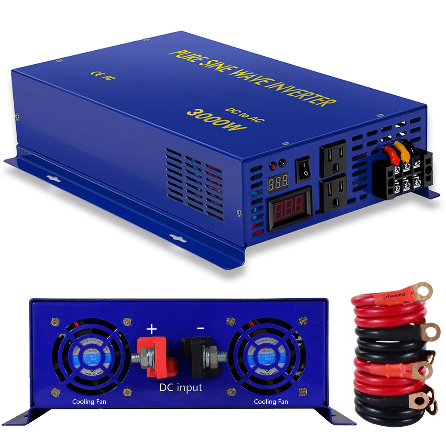 XYZ INVT 3000W Pure Sine Wave Power Inverter 24V DC to 120V AC with 2 AC Outlets 2 Sets of Battery Cables, Power Converter Generator for Home Solar System, RV, Camping.(3000W24V)