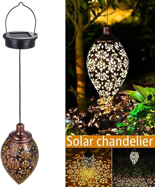 ERTYUI - Farol solar para jardín, impermeable, LED, lámpara solar decorativa de metal para colgar en jardín, patio, patio y mesa: Amazon.es: Hogar