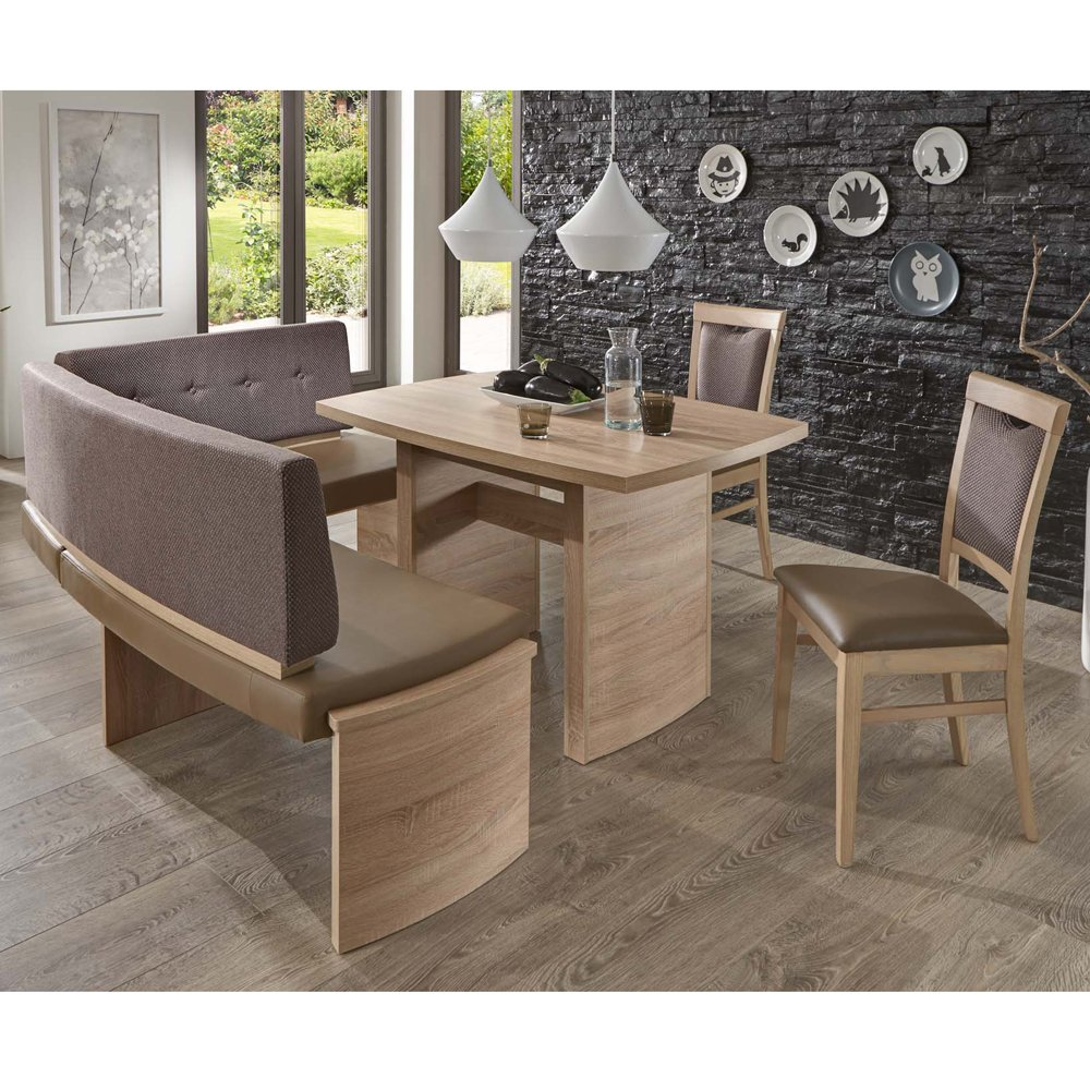 Gut Eckbank Eckbankgruppe Essgruppe MURANO I Essecke Tisch 2 Stühle Sonoma  Eiche: Amazon.de
