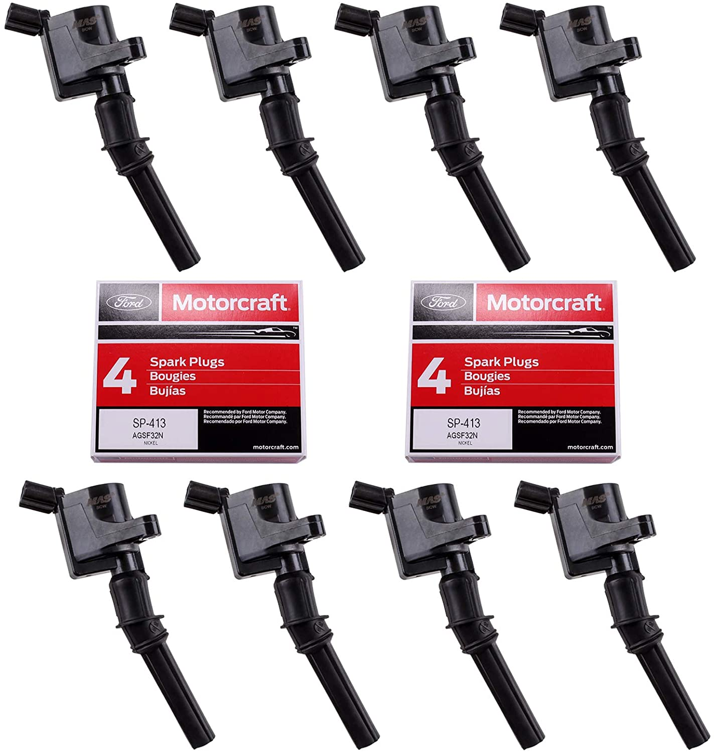 MAS Ignition Coils DG508 and OEM Spark Plugs SP413 For Ford F-150 Mustang V8 4.6L pack of 8