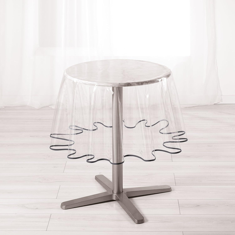 Ligne D/écor Nappe cristal ronde diam/ètre 180 cm PVC uni Garden//biais anthracite