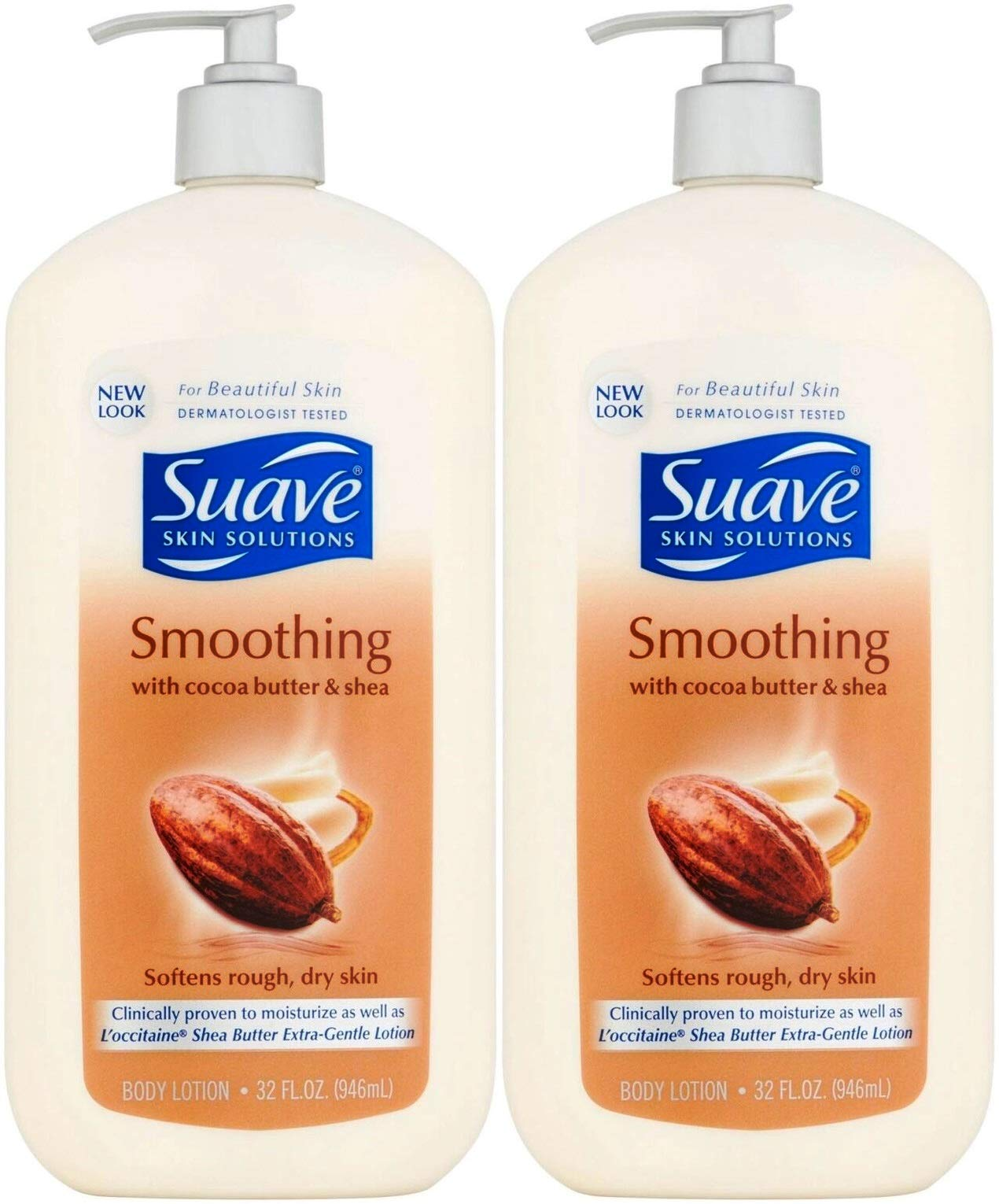 Suave Skin Solutions Smoothing Body Lotion with Cocoa Butter and Shea, 32 Ounce (Pack of 2) by Suave