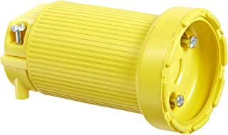 product image for KH Industries CL515DF Rubber/Polycarbonate Rewireable Flip Seal Locking Blade Connector, 2 Pole/3 Wire, 15 amps, 125V AC, Yellow