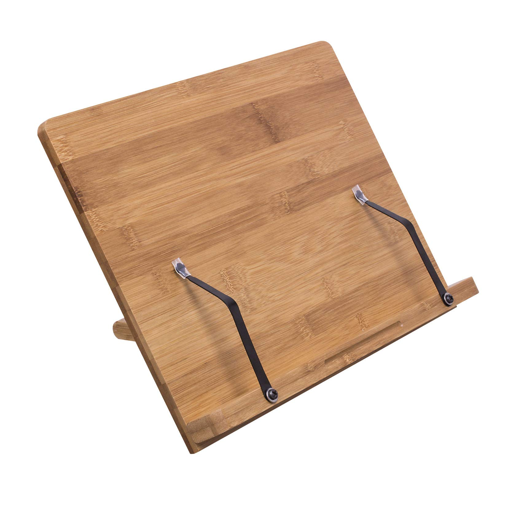 Book Stand Bamboo Recipe Cookbook Holder Stand Kitchen Adjustable Bookrest Reading Rest for Books Tablets Or Smartphones Documents iPads