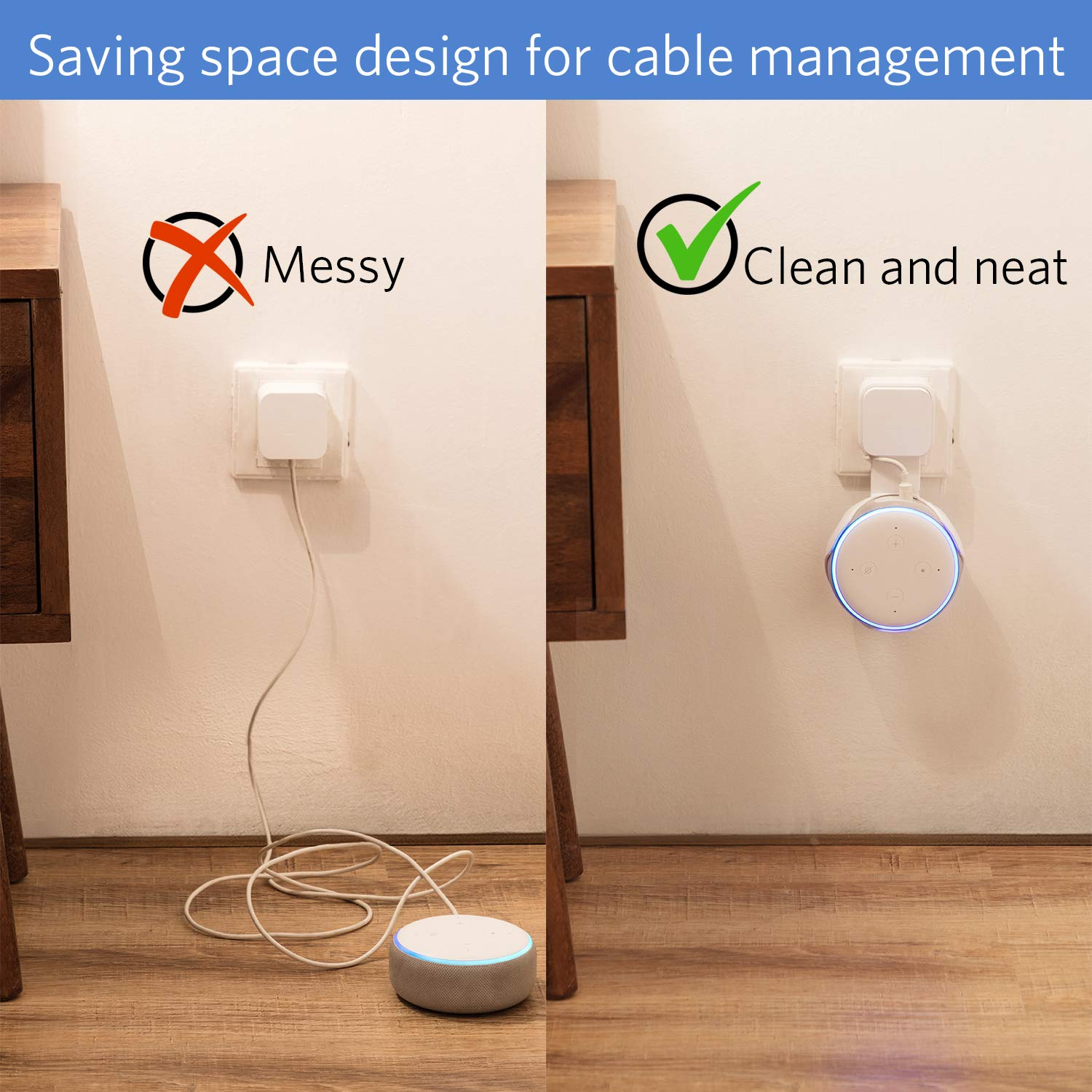 No Messy Wires or Screws-Compact Bracket Case Plug in Bedroom Kitchen Bathroom Frienda Outlet Wall Mount Hanger Holder Stand for Dot 3rd Generation Smart Home Voice Assistants 2 Pack Black
