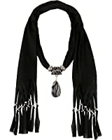 LERDU Gift Idea Indian Stone Pendant Scarf Necklace Soft Jersey Infinity Scarf Tassel Jewelry for Women