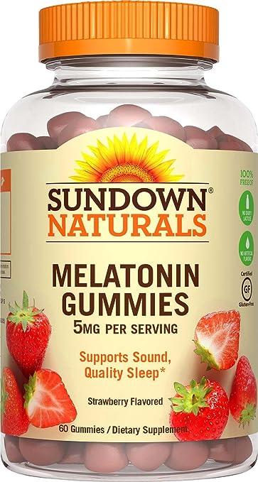 Sundown Naturals Melatonin 5 Milligram Gummies (Count 60), Strawberry Flavored, Supports Sound