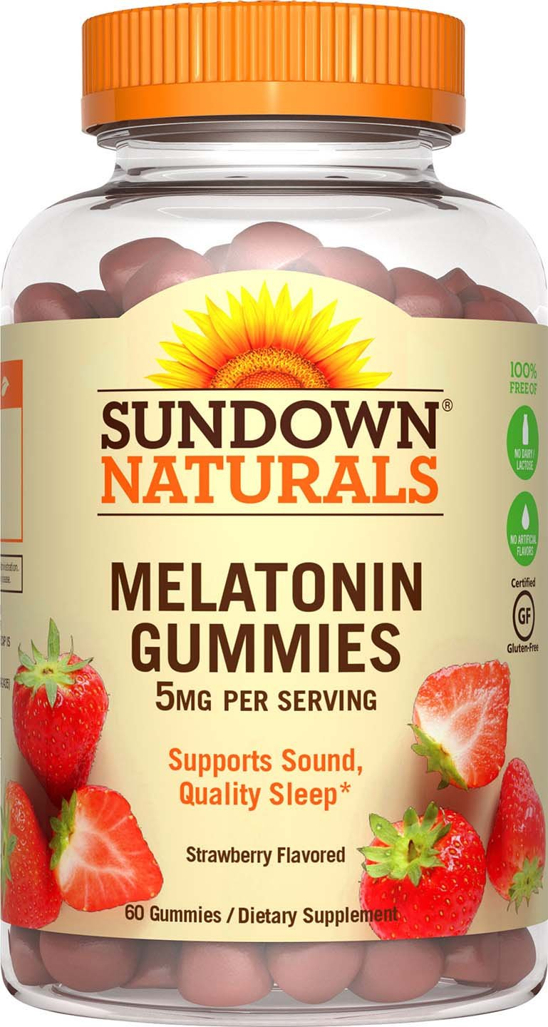 Sundown Naturals Melatonin 5 mg Gummies (Pack of 60), Strawberry Flavored, Supports Sound, Quality Sleep*, Gluten Free, Dairy Free, Non-GMO, No Artificial Flavors