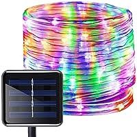 Manguera de Luces Solar Exterior,KINGCOO Impermeable 12M 100LED