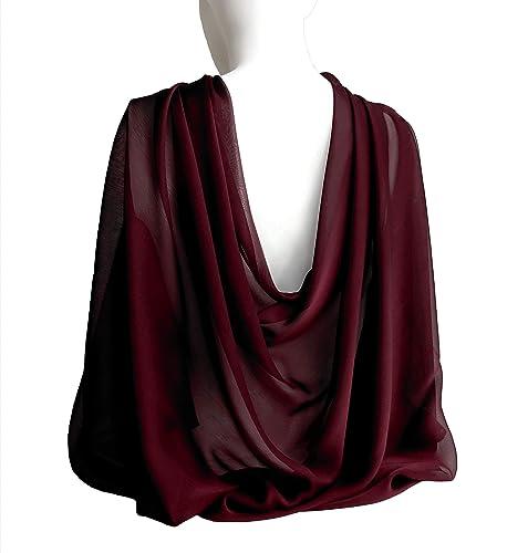 f737904af634 Amazon.com: Ruby Wine Burgundy Wide Long Shiny Scarf for Women ...