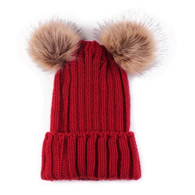 ファッションデザイナー HMILYDYKベビー厚手ケーブルニットストレッチビーニー帽子ボンボン付冬暖かいキャップwith Twin Twin Fauxファーポンポン付き幼児用子供 B077D5CPHL, モーダオンライン:77d9d14f --- specialcharacter.co