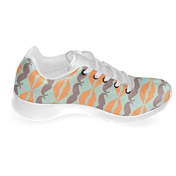Artsadd Colorful Hipster Mustache and Lips Custom Running Shoes for Men