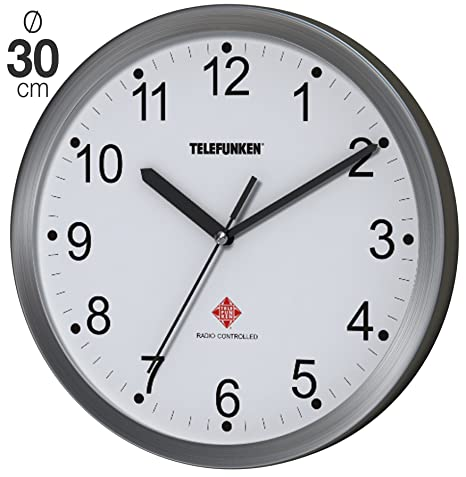 Telefunken FWU-30-B (WF) Reloj de pared radiocontrolado con marco de