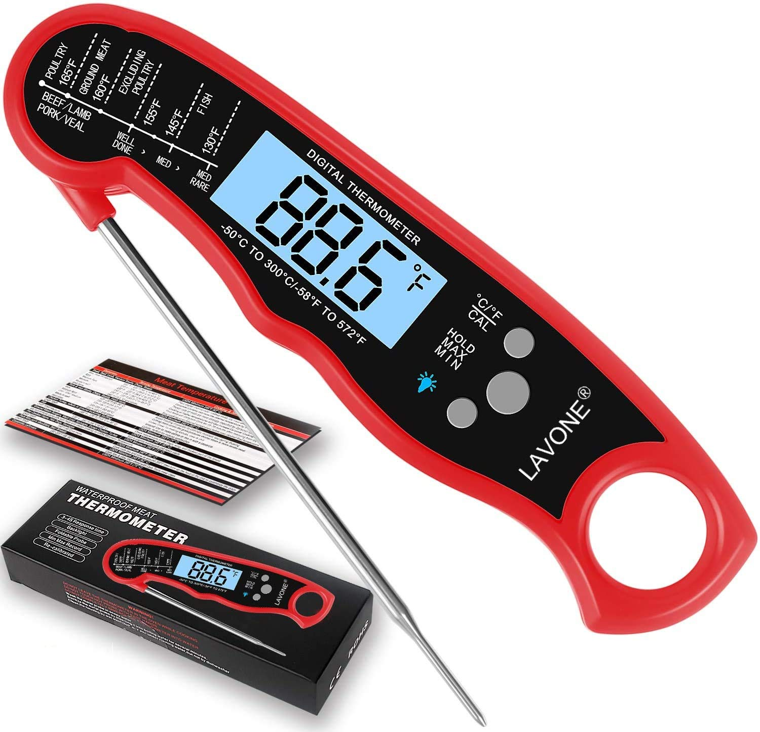 LAVONE Meat Thermometer- Instant Read Meat Thermometer for Cooking, Fast & Precise Digital Food Thermometer with Backlight, Magnet, Calibration, and Foldable Probe for Deep Fry, BBQ and Grill