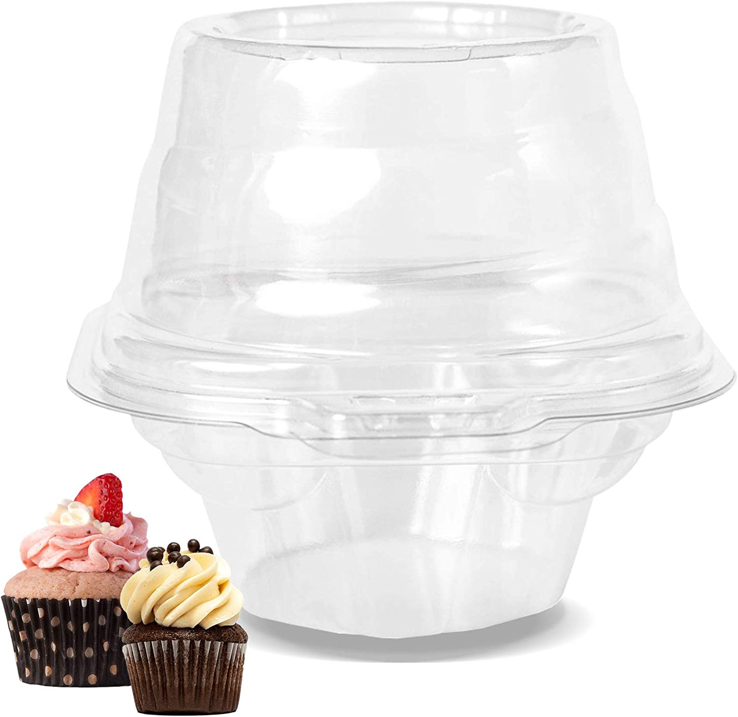 Bambee 100 pcs Individual Cupcake Containers | Single Snap and Stack Reusable Easter Cupcake Holders | Bulk Clear BPA Free Plastic Disposable Hot Cocoa Bomb High Dome Shell Boxes with Lids