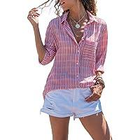 Ecrocoo Women V Neck Cuffed Long Sleeves Button Down Casual Chiffon T Shirt Blouse Soild Tops