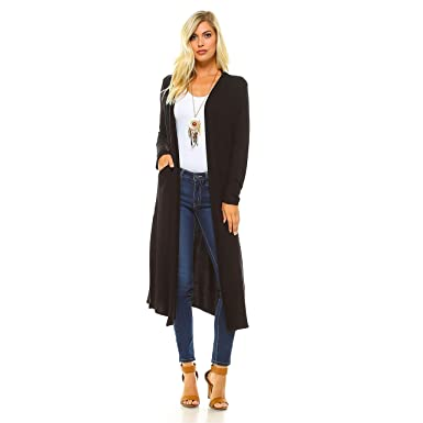 8c762e48c06 Isaac Liev Women's Long Cardigan with Side Slits & Pockets (Large, ...