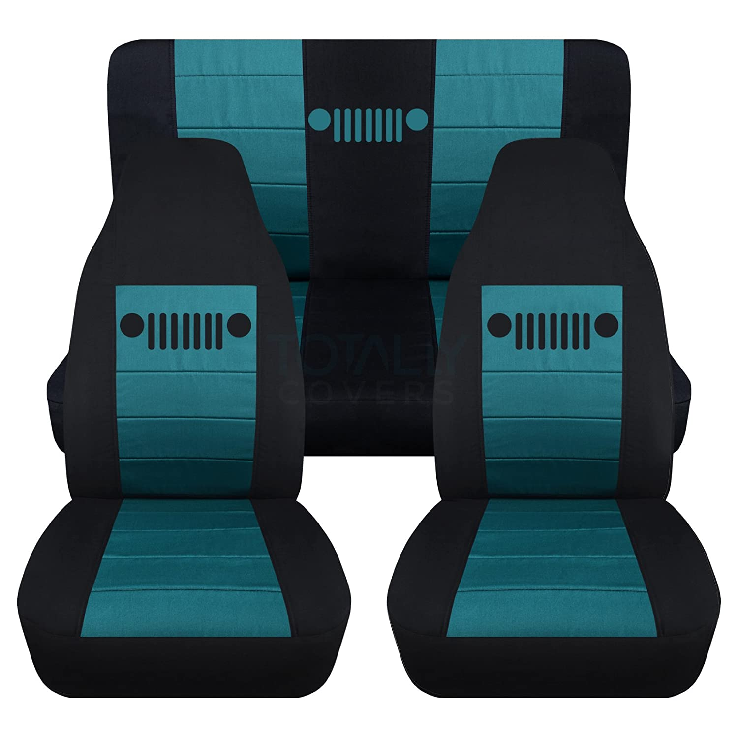 1987-1995 Jeep Wrangler YJ Seat Covers: Black & Orange - Full Set: Front & Rear (23 Colors) 1988 1989 1990 1991 1992 1993 1994 2-Door Complete Back Bench Designcovers
