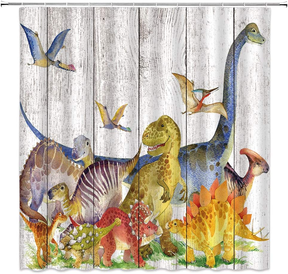 Dinosaur Shower Curtain Jurassic Wildlife Kids Decor Various Dinosaurs Breed Animal Dynamic Image,Fabric Bathroom Set Hooks Included 70x70 Inch,Yellow Blue