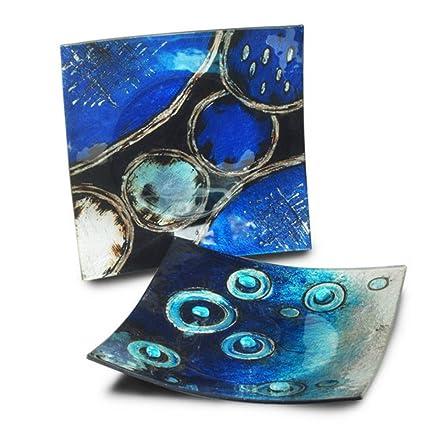 CAPRILO Set de 2 Platos Decorativos Curbados Abstractos Azules Vajillas y Cuberterías de Cristal. Adornos