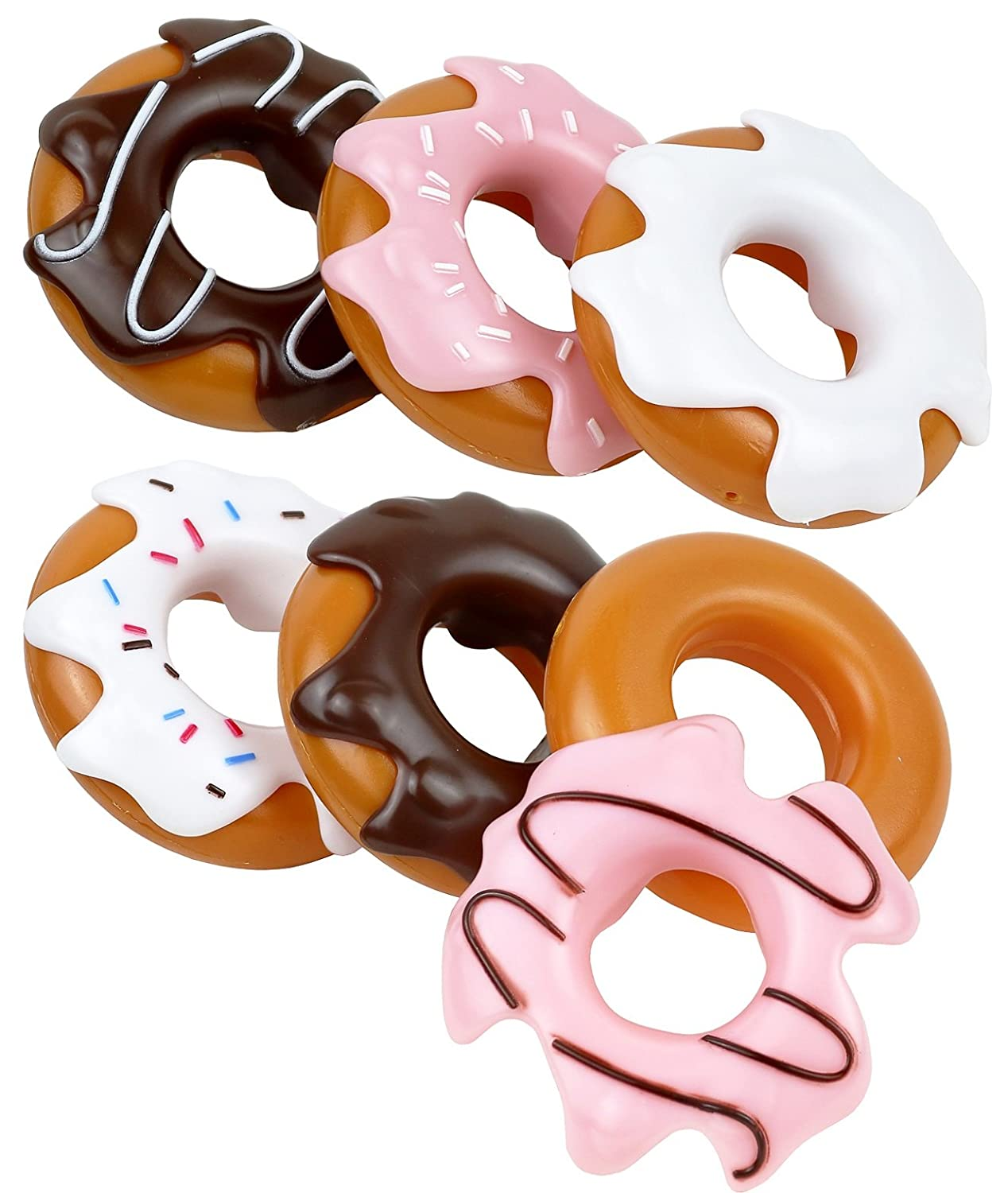 Click N Play Set of 6 Assorted Pretend Play Donuts Set With Removable Icing, Sprinkle Toppings CNP84446