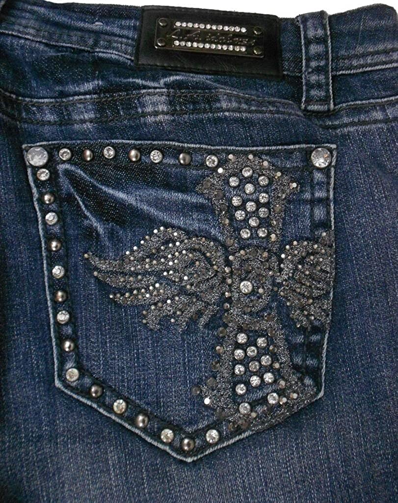 L A Idol Women Plus Bootcut Jeans Crystal Angel Wing Cross Stretch in Blue