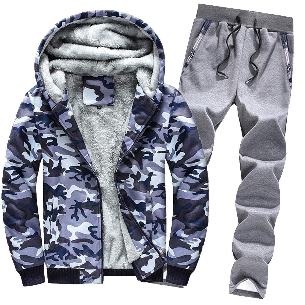 2PCS Mens Sports Clothing Sets, G-Real Hoodie Winter Camouflag Warm Fleece Zipper Outwear Coat + Pants