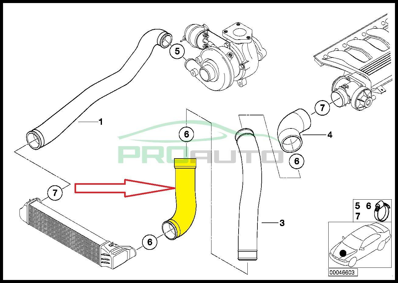Manguera de Intercooler Tubo Turbo 11617799397 11612247324: Amazon.es: Coche y moto