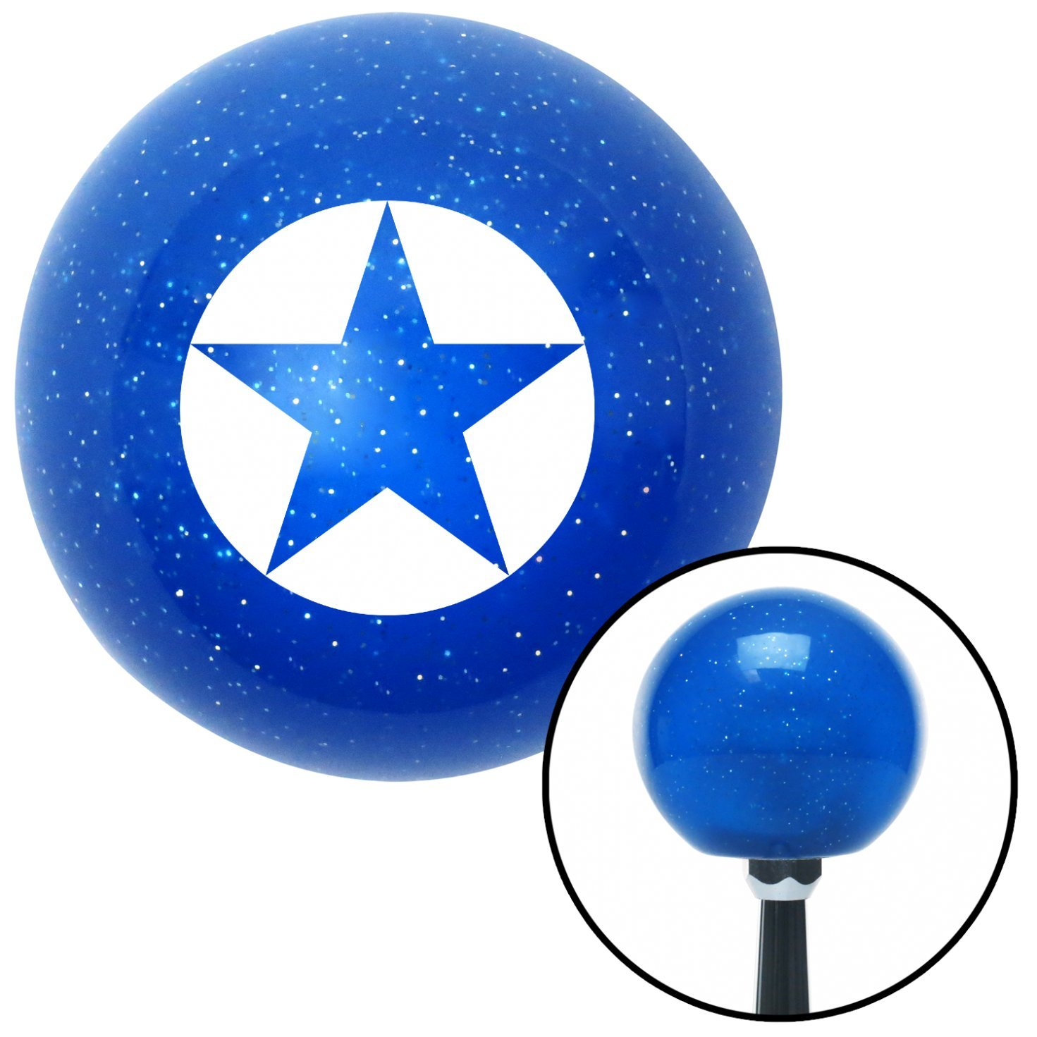 White Star in Circle American Shifter 26633 Blue Metal Flake Shift Knob